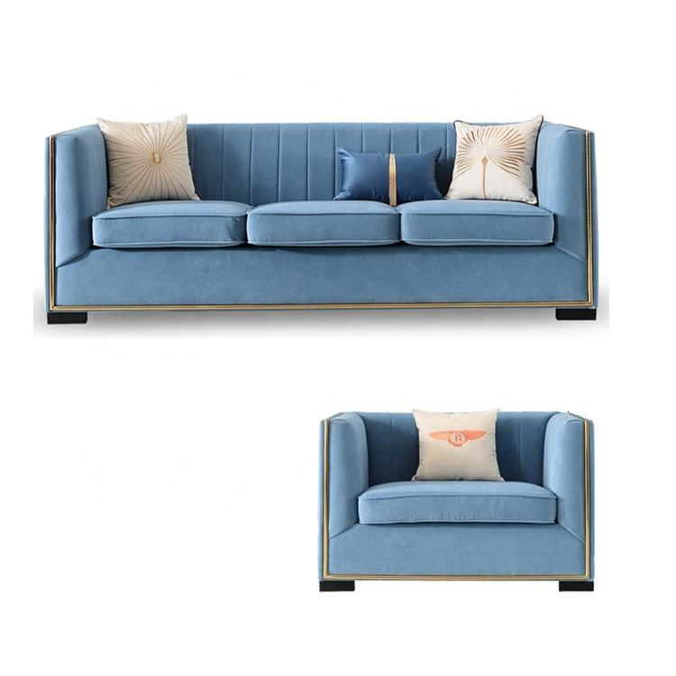 New Fabric sofa with compartment blue living room sofa set designs with chairs