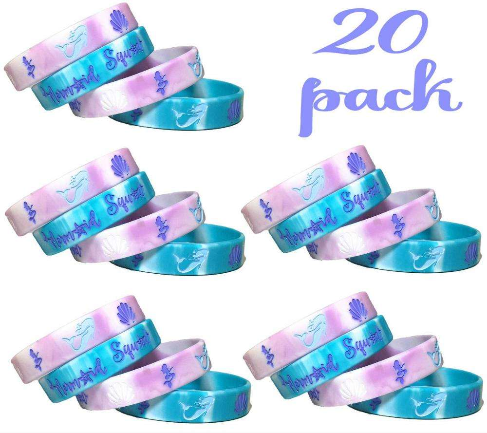 EasternHope 20 pcs mermaid party favors wristband, under the sea party favors, birthday jewelry toy party supplies