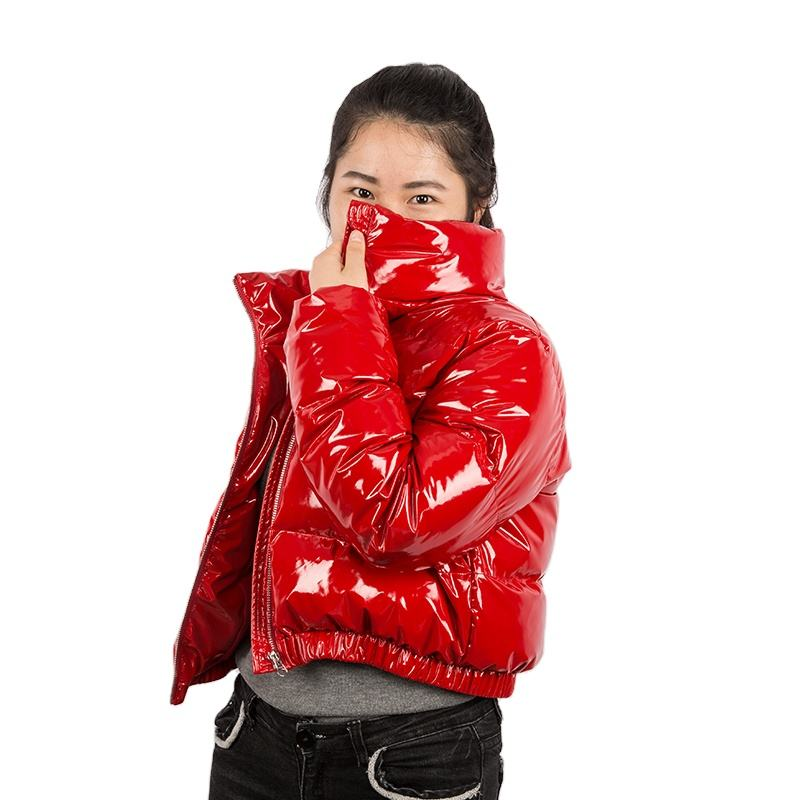2020 Hot Sale Shiny PU Bubble Coat Ladies Cropped Puffer Down Jacket Winter For Women