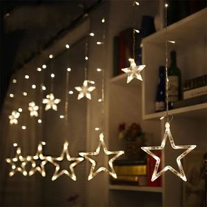 Outside christmas light window decoration plug powered led twinkling star waterfall lights curtain for wedding diwali lights