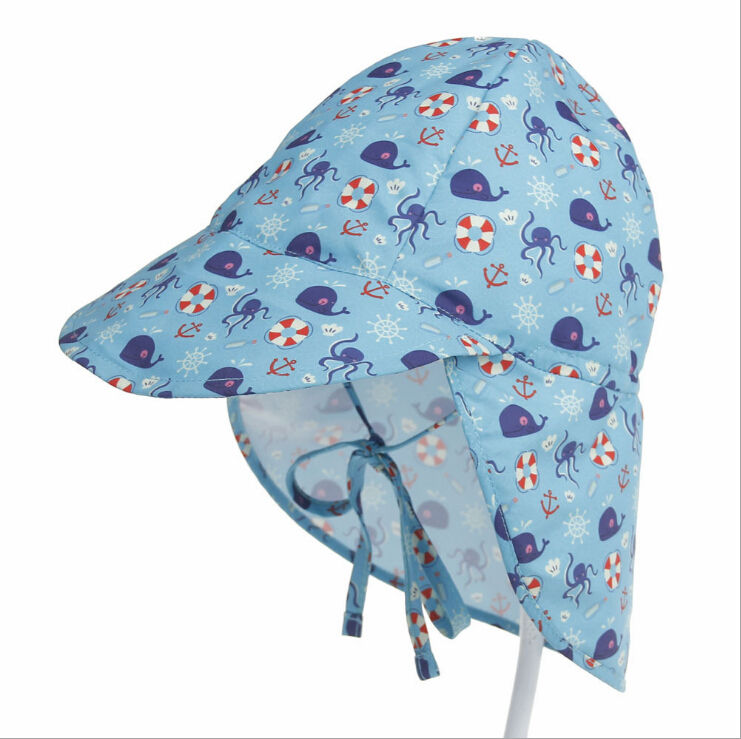 Quick dry breathable cartoon print outdoor children fisherman cap solar protection hats for babies