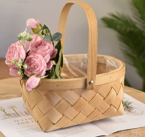 Wholesale eco-friendly natural woven wood chips fruit basket storage basket