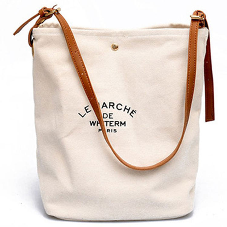 Customize Promotional Reusable Canvas Tote Bag Eco Friendly Brown Leather Handles Custom Cotton Canvas Bag