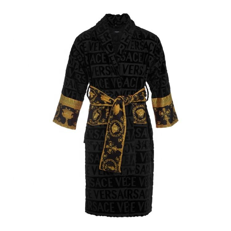 luxury nobel cotton bathrobe with custom jacquard words and silky sleeve and belt