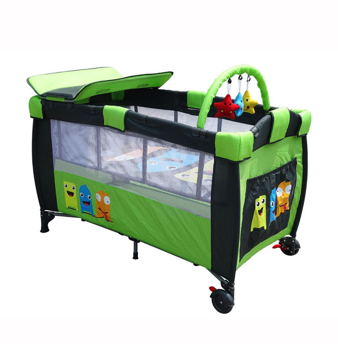 simple design metal frame baby travel cot playpen crib portable baby bed