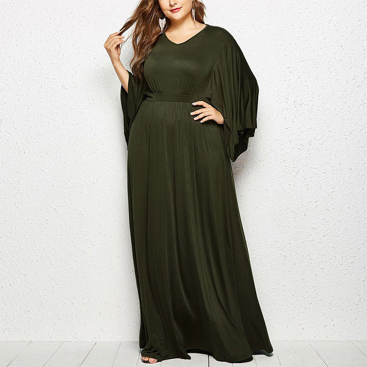 Green High Waist V Neck Big Swing Plus Size Ladies Long Dress Maxi Women Dress