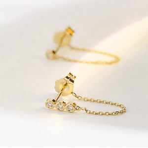 Artilady gold stud chain ear clip stainless steel earrings jewelry for women