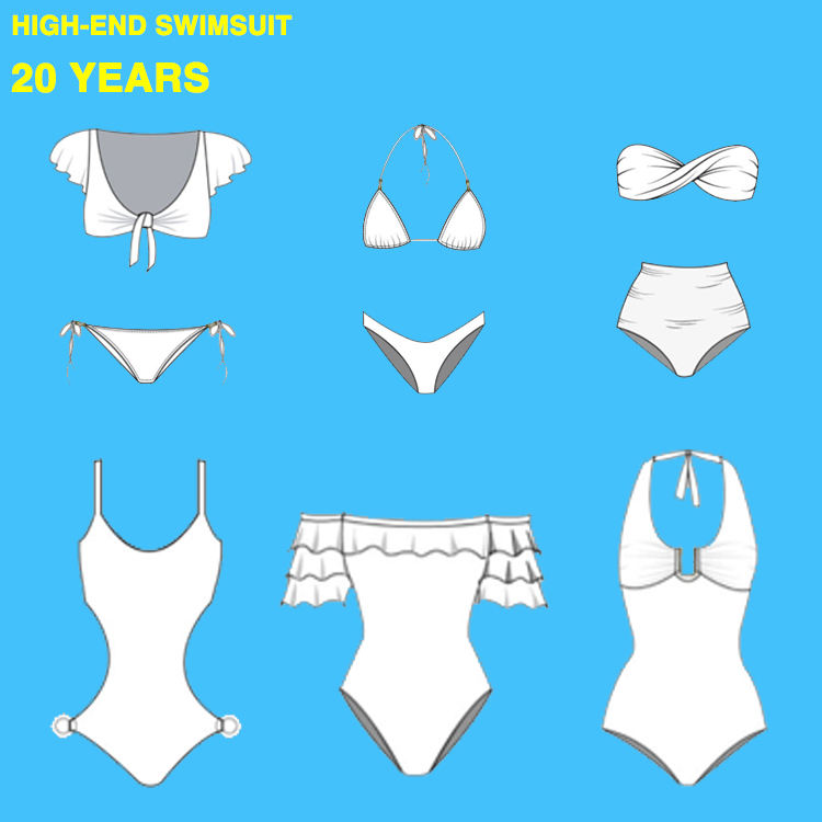 China Manufacturer 2020 Custom Girls Single Shoulder Two Piece Sexy Swimsuit Design Solid Color Woman Swimwear & Beachwear