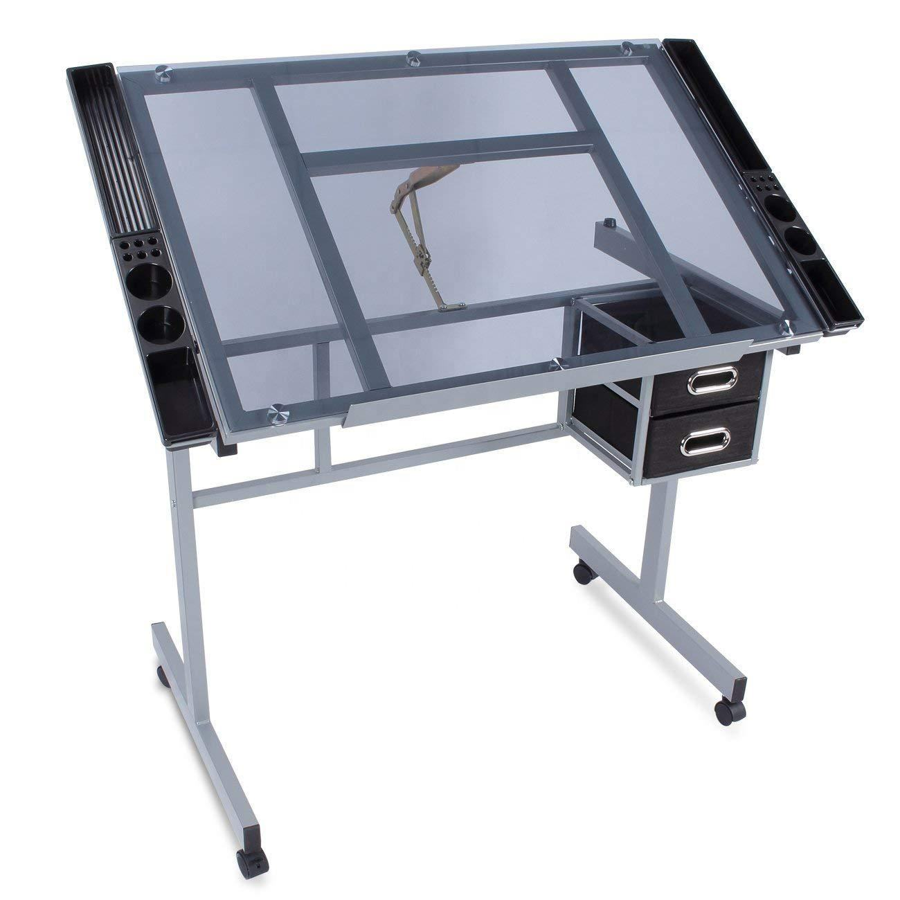 Glass Top drafting table adjustable drawing desk studio art craft table