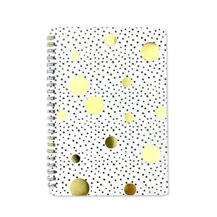 Soft touch gold foil spiral notebook journals with rings for children