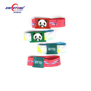 UID number printing UV Fudan M1 PVC card with hole punch Elastic Adjustable Strech wristbands