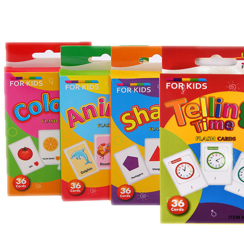 Wholesale Custom Printing Education Learning shape/animal/color/colock /Beginning Words Flash Cards for Children