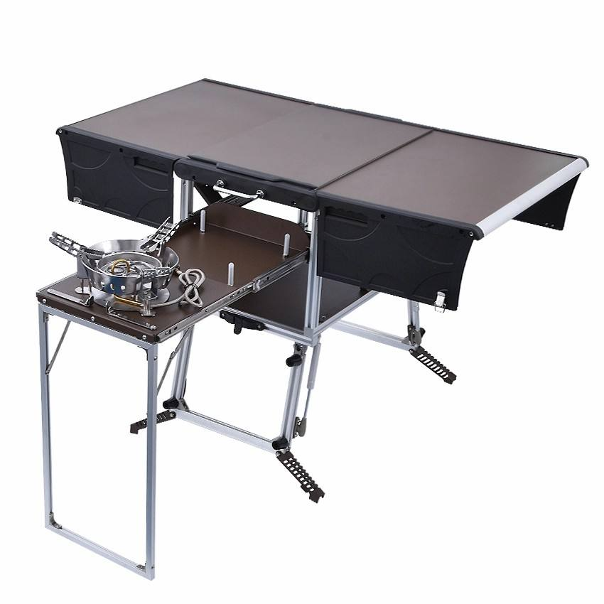 Portable camp kitchen box aluminum kitchen countertops BBQ outdoor foldable table cookware tables set