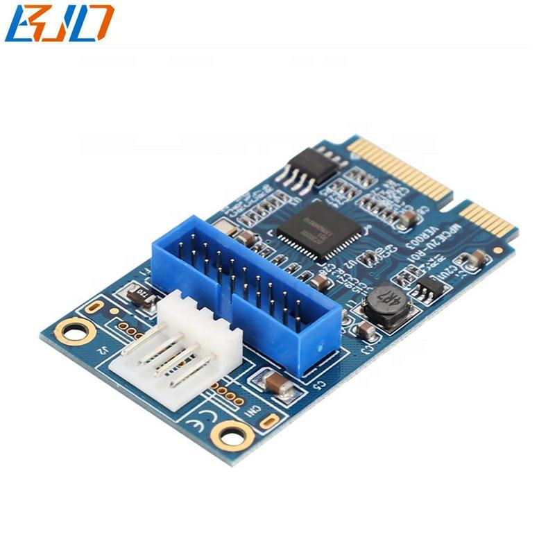 Mini PCI-E PCIe à L'avant 19Pin USB3.0 L'expansion Riser Carte avec Petit 4Pin Connecteur D'alimentation pour Windows/Linux