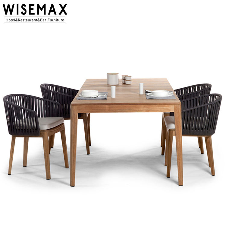 Modern design outdoor restaurant weather resistant modern teak wood outdoor dining rope woven patio chairs and table