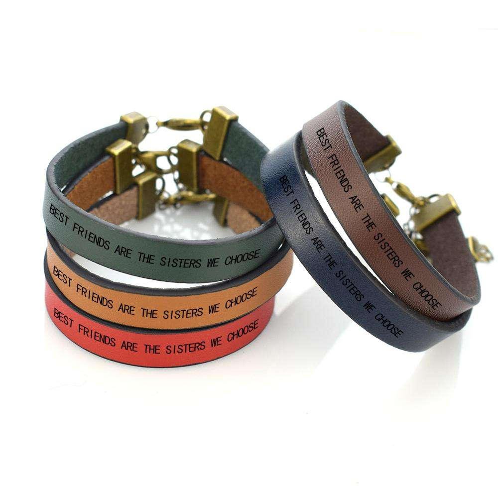 Fashion Simple Design Men Women Leather Bracelet Engraved Words Best Friends Are the Sisters We Choose Bracelet for Friends Gift