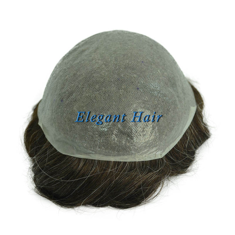 Elegant Hair india hair men #1B20 color invisible thin skin toupee