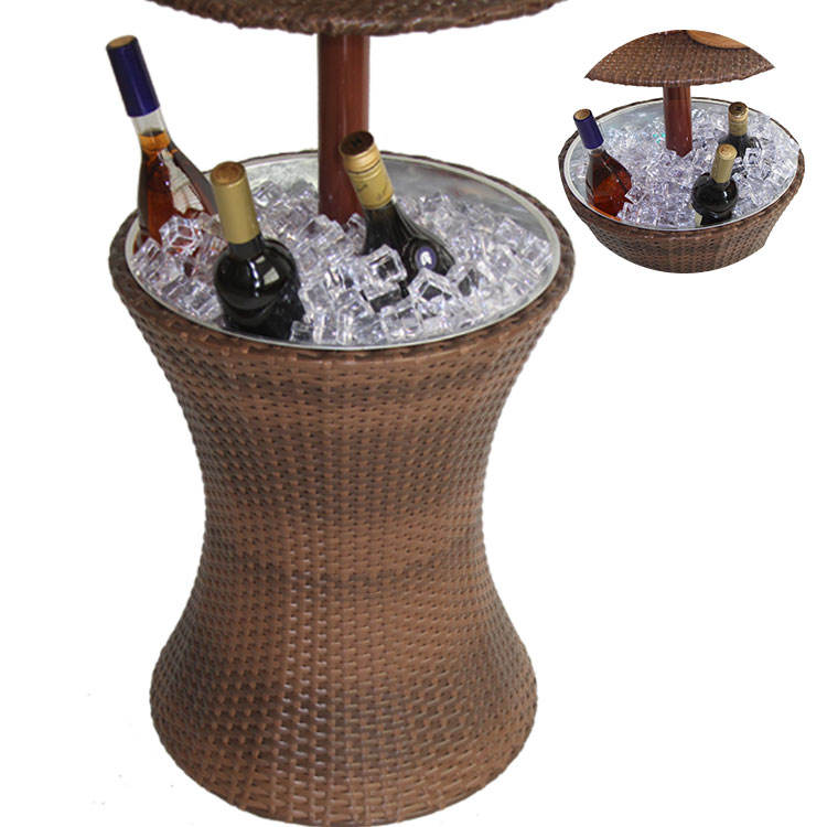 Outdoor patio bar tables with large metal rack multifunctional decorative stainless steel plastic rattan ice cooler bucket