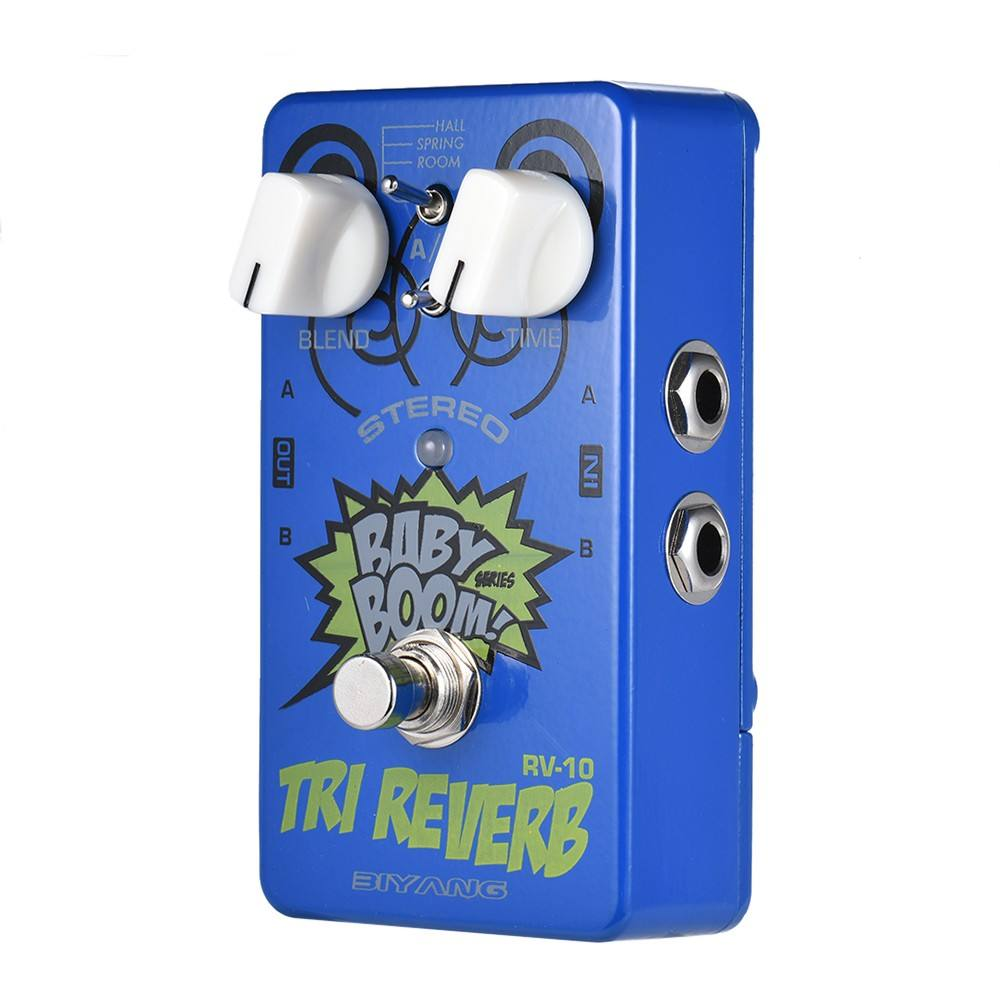 BIYANG RV-10 BABY BOOM Series 3 Modes Stereo Reverb Guitar Effect Pedal True Bypass Full Metal Shell