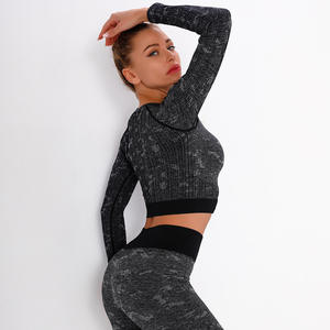 Ladies Fitness Wear Seamless Knitted Jacquard Quick-drying Sexy Short Long-sleeved Top Sports Running Yoga Wear