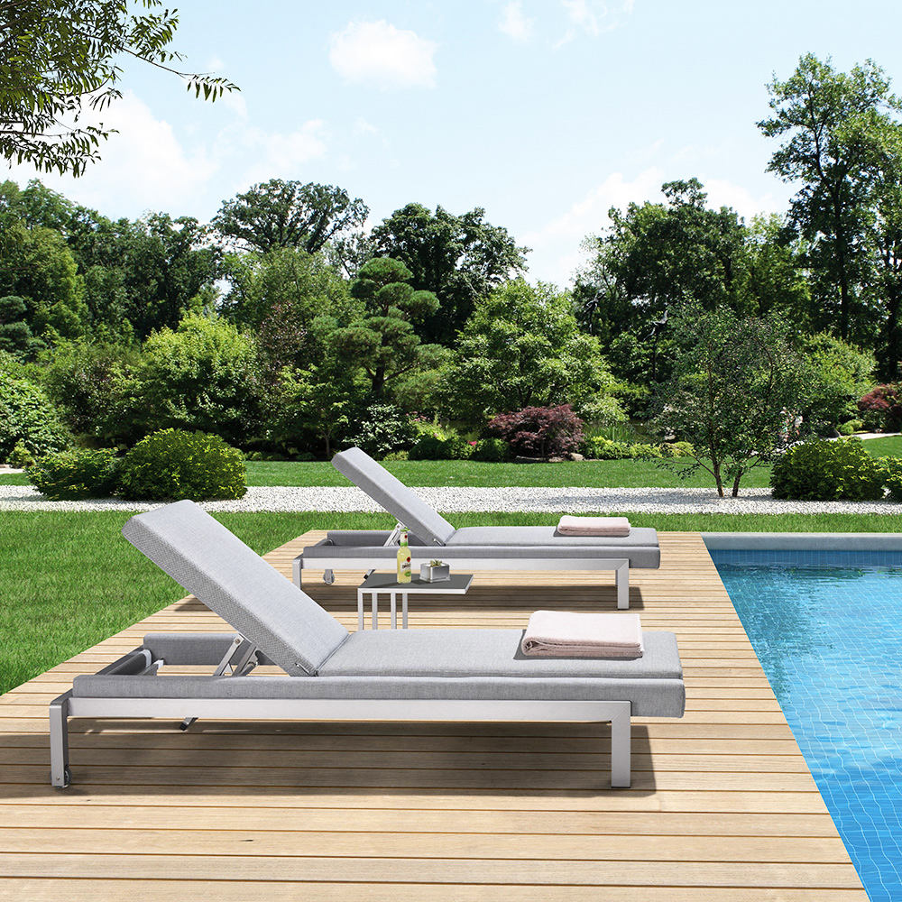 Swimming pool outdoor patio furniture aluminum used sun loungers beach