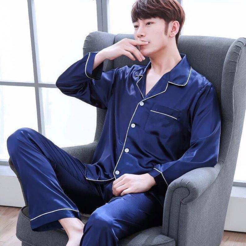 Satin Solid Pyjamas Men Sleepwear Elastic Pajama Sets Design Pajamas For Men