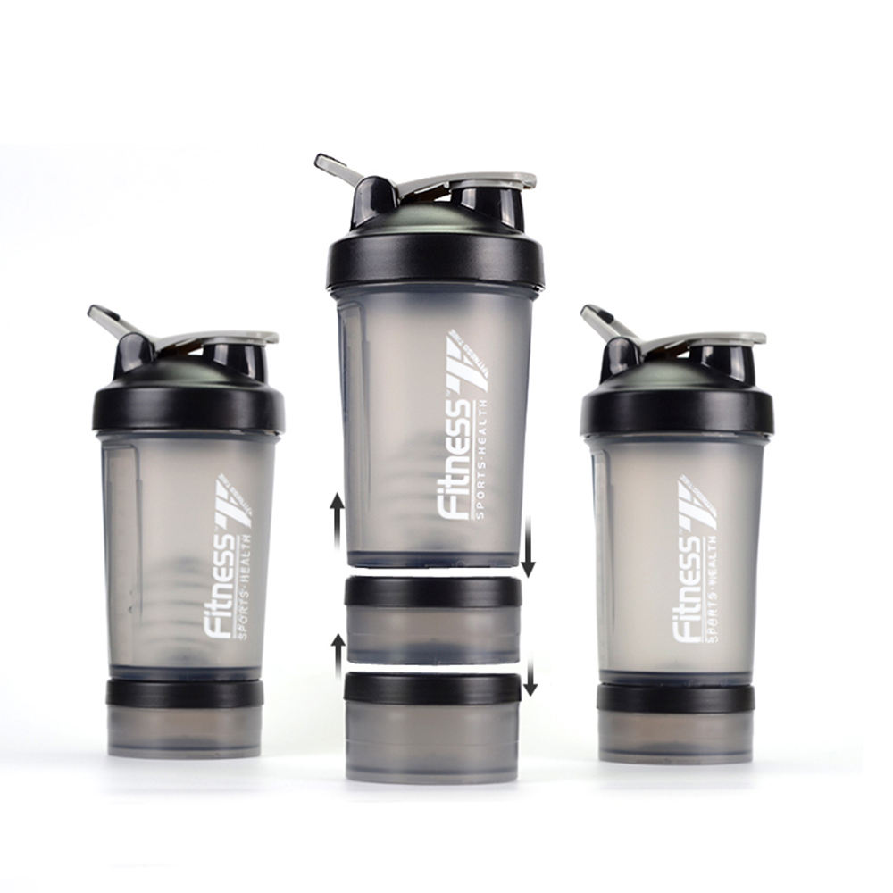 500ml Personalized Eco Friendly Bpa Free 3 Layer Protein Shaker Bottle With Metal Ball