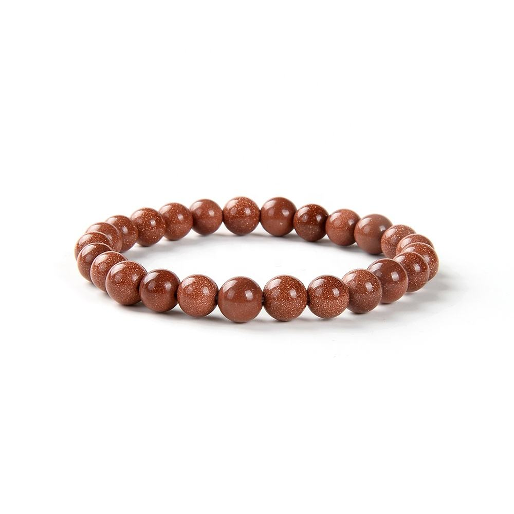 Wholesale natural handmade gold sand stone beaded bracelet for ladies jewelry accessories