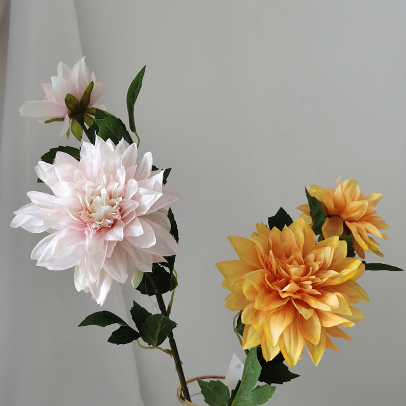 Real touch artificial dahlia silk flower single stem for DIY wedding bouquets centerpieces bridal shower party home decor