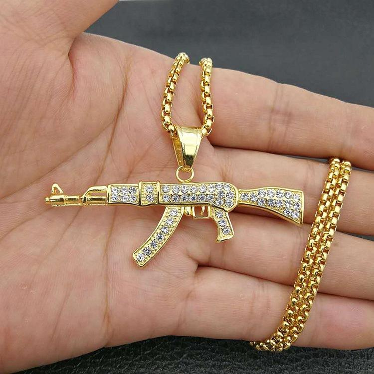 Mens Stainless Steel Iced Out Diamond Hip Hop Fashion Gold Gun Pendant