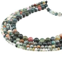4/6/8/10 mm round natural indian agate gemstone loose bead for DIY bracelet making