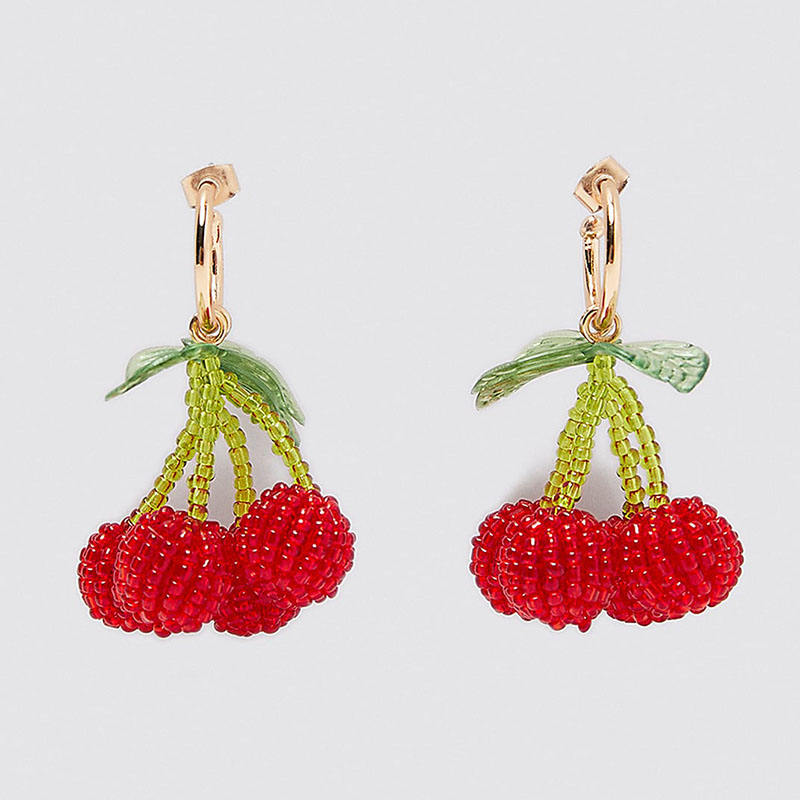 Sweet Acrylic Summer Fruit Drop Earrings Beaded for Girls Women Cute Handmade Watermelon Strawberry Bohemian Boho Colorful Jewelry