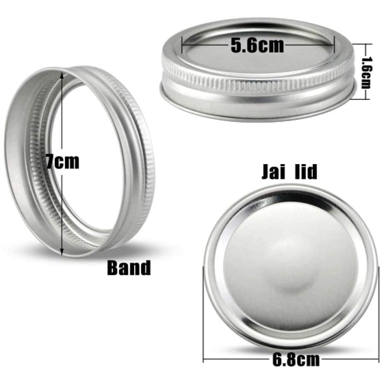 leak-proof and safe solid storage lid reusable 86mm split type mason bottle tinplate lid and ring