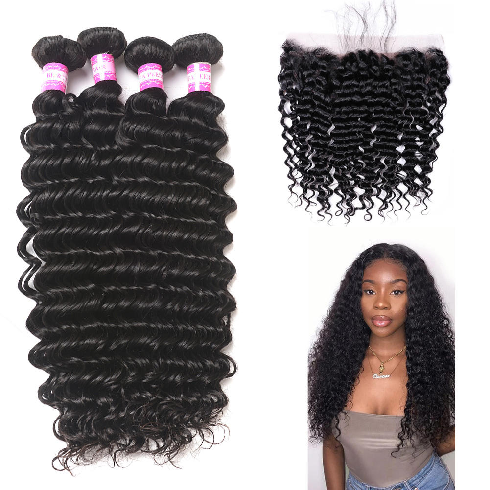 Fast Customization Hd Lace Unit 34inch And 13x4 Front Curly Tissage Naturel Plus Loose Human Hair Deep Wave Bundles With Frontal