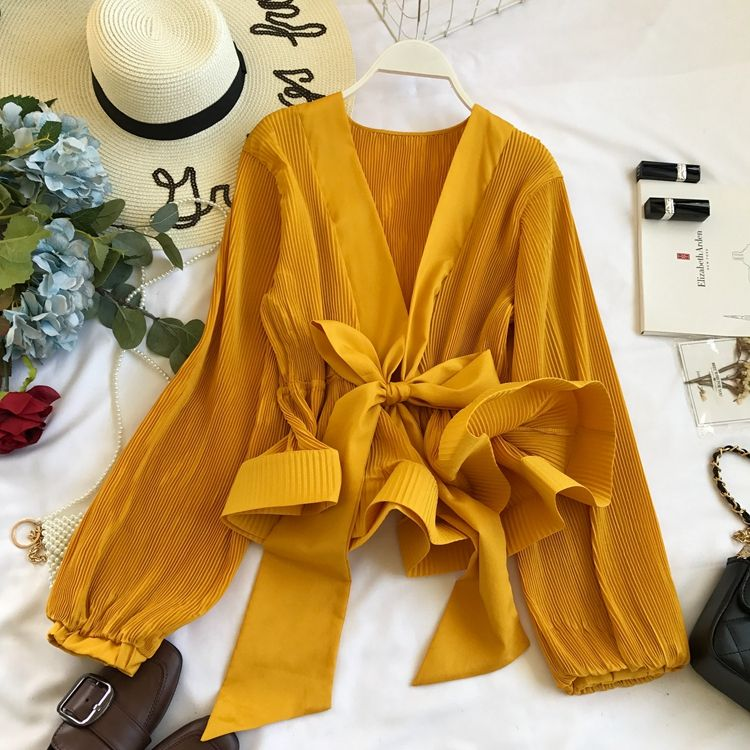 Free Size Long Sleeve Deep V-neck Chiffon Blouse Pleated Bandage Bow Tie Top Slim Waist Ruffles Shirts Women Puff Sleeve Blusas