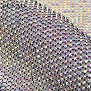 1 X1.5 Meter SS12 SS16 Strass Applique Stretch Crystal Mesh Trim Glitter AB Glass Rhinestone Fabric for Clothes Crafts