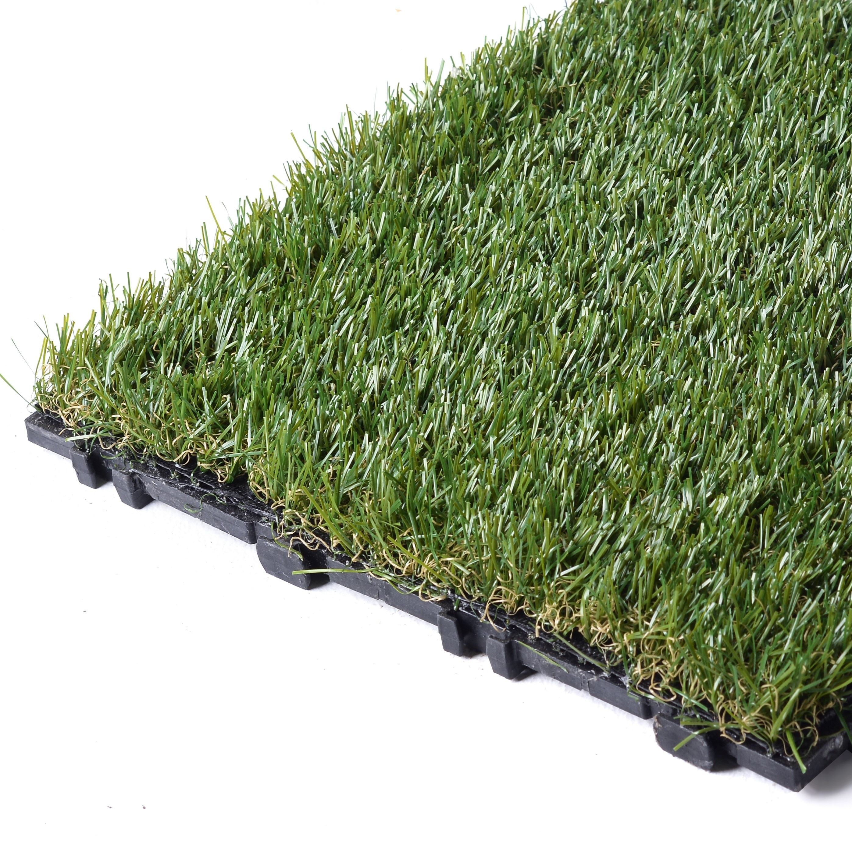 Durable Waterproof PP Interlocking Floor Natural Artificial Grass Tile