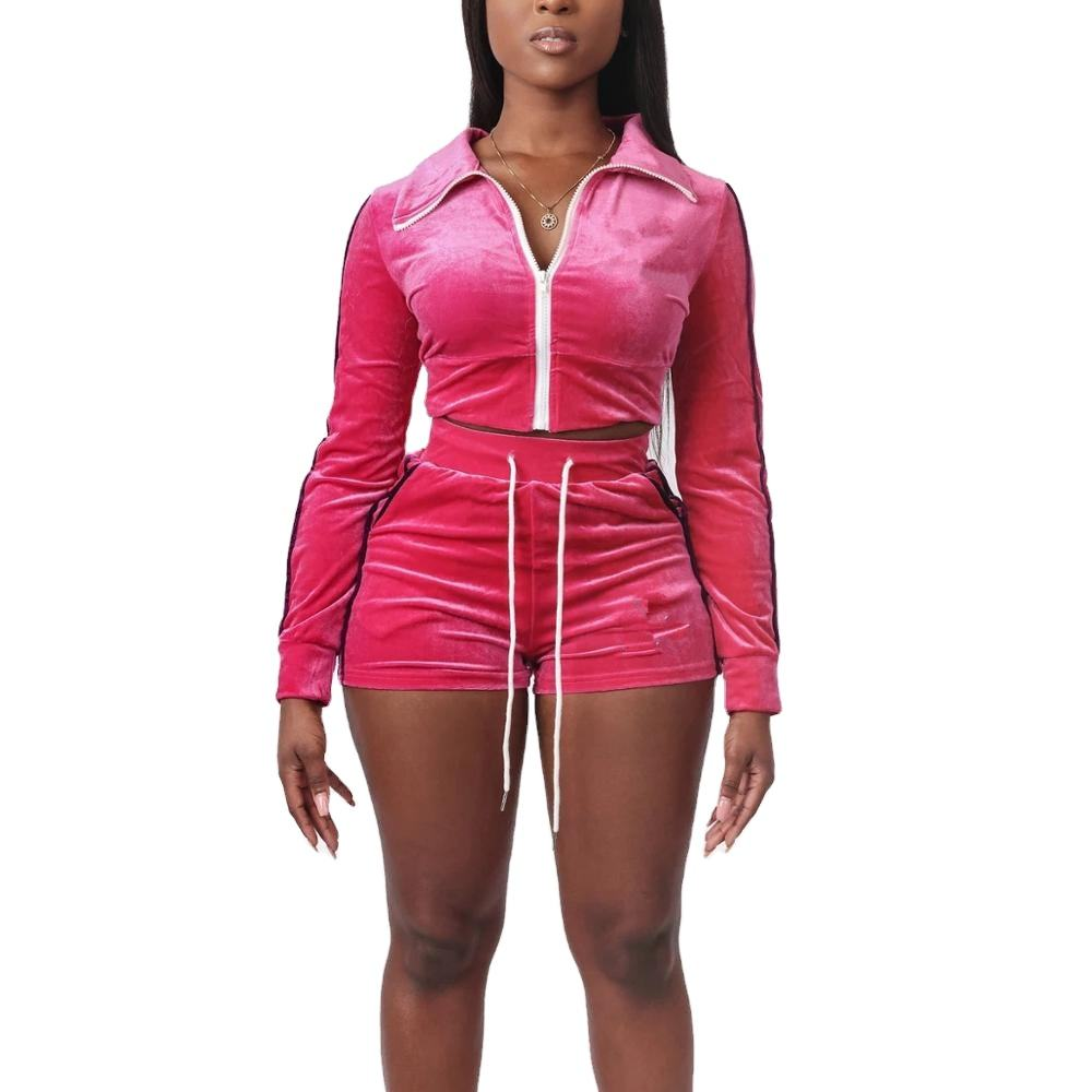 KY club hot night young girl side piping velour long sleeve plastic zipper cropped hooded jacket and high waist shorts outfits