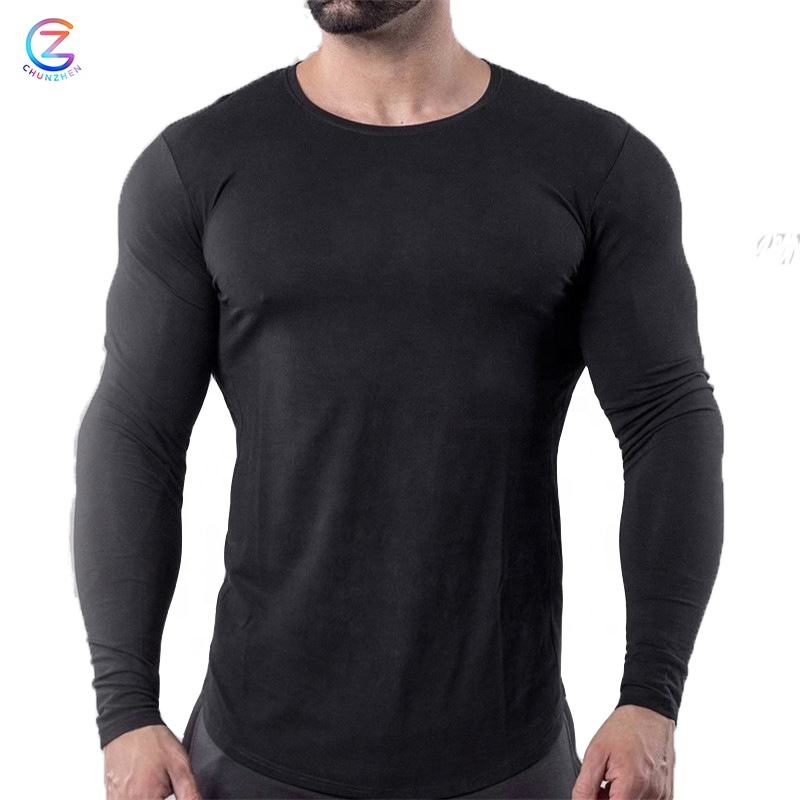 Hoge Kwaliteit Mannen Workout Lange Mouw T-shirt Spier Man Tight Gym Slijtage Fitness Outfit Bodybuilding Kleding Training Kleding