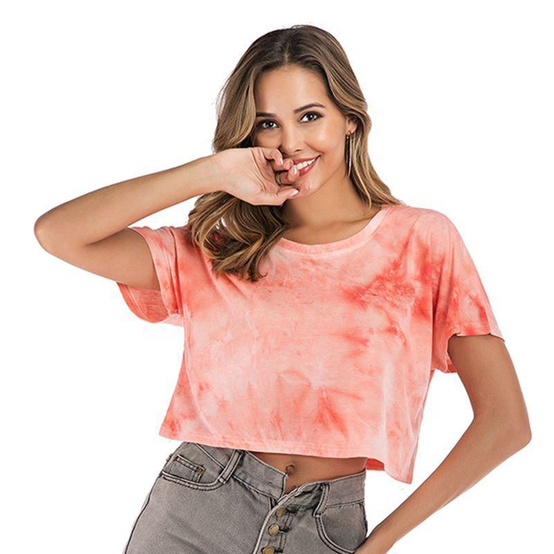New Fashion Short Sleeve Custom Tie-dyed Crop Tops T-shirts Women Tie Dye T Shirts