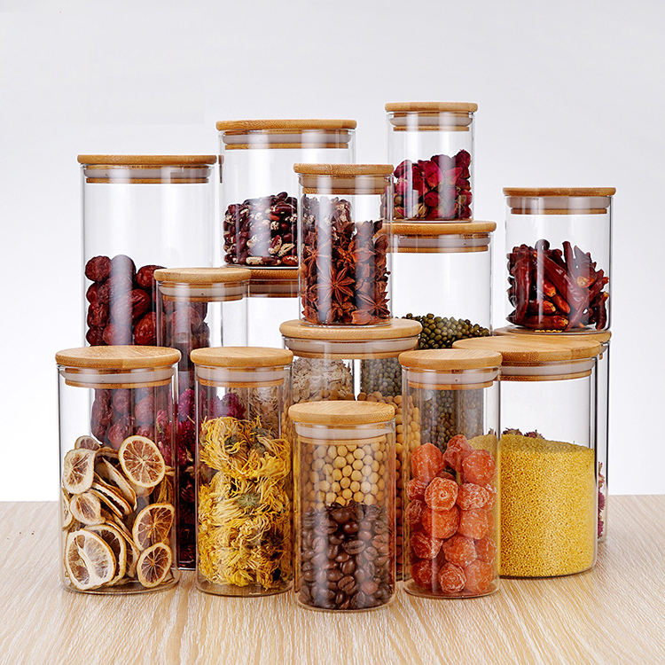 2020 hot sell borosilicate kitchen storage glass jar spice tea nut container with bamboo lid