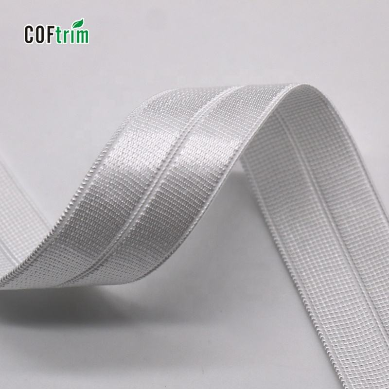 wholesale shiny elastic binding fold over elastic tape high quality satin ribbons elastic custom ribbon for underwear