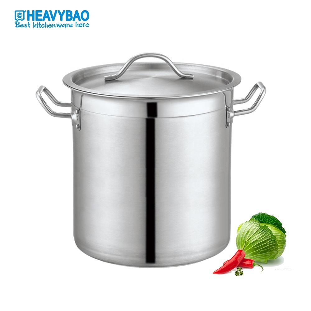 Heavybao Good Quality Large Capacity Stainless Steel Cooking Soup Stock Pot Hot Selling For Restaurant