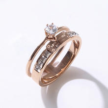 Fancy Titanium Engagement Jewelry Stainless Steel Cubic Zirconia Rose Gold Plated Wide Luxury Band Women Girls Rings
