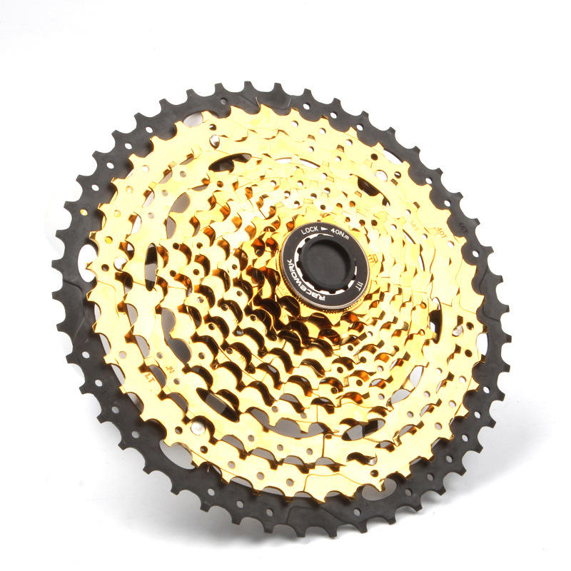 Mountain Bike Bicycle Parts Freewheel Cassette 10 Speed Gold 11-42T 11-46T11- 50T Cycle Bicycle Freewheel for Racework