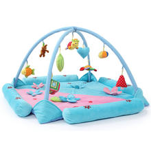 Cute Soft Custom Design Plush Pink Blue Hanging Toy Play Baby Toys Play Mat For 0-2 old baby