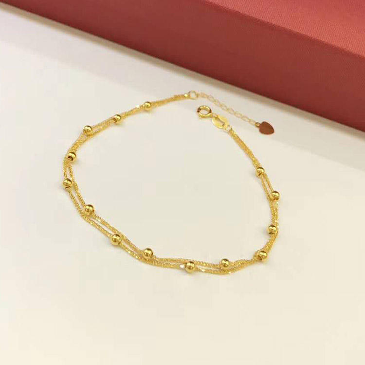 18K pure real solid yellow gold chain bracelets women