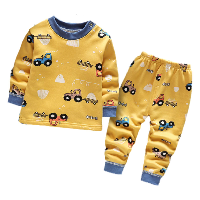 Wholesale fall and winter children's thermal underwear two-piece children's long-sleeved padded pajamas for boys and girls pijam