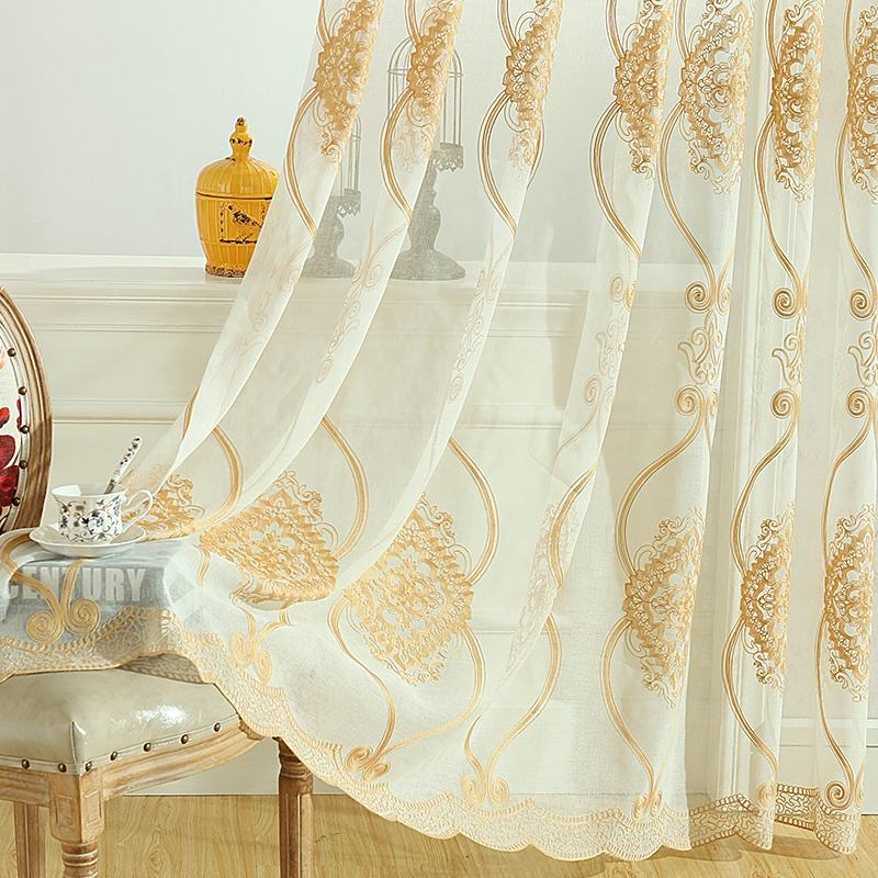 Wholesale Nice Europe Gold Window Curtain Embroidered Living Room Tulle Cheap Sheer Curtains Online Supplier