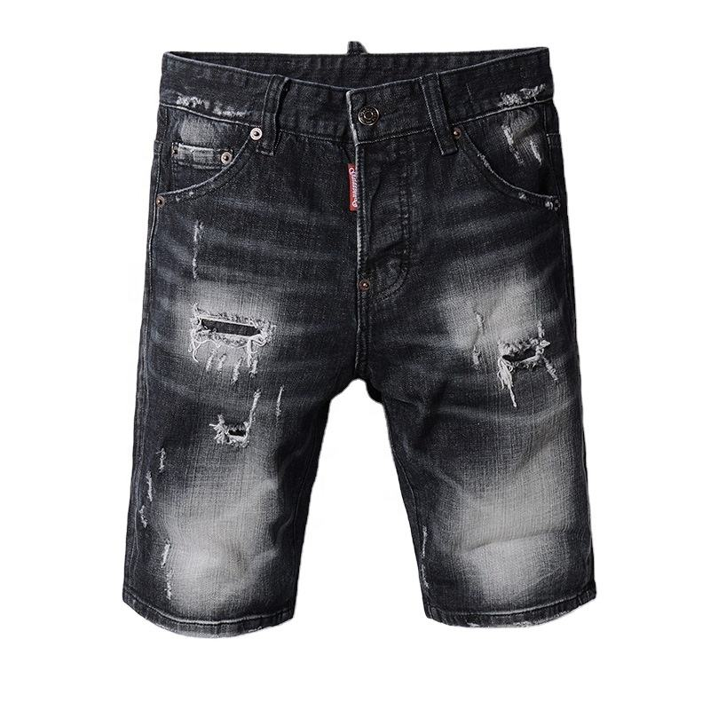 Fashion Blend New Washed Destroy Ripped hole Men's denim Short jeans From Guangzhou Supplier